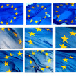 Various fragments of EU flag on white background — Stock Photo