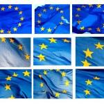 Various fragments of EU flag on white background — Stock Photo