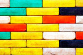 Wall of multicolored plastic blocks — Stock Photo