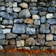 Stone wall and sidewalk with autumn leaves - Stock Photo
