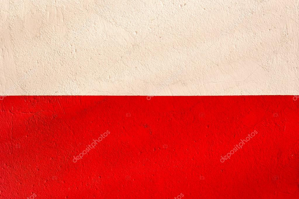 A Polish flag with the texture of plaster wall — Stock Photo #18706641