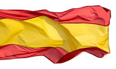 Spanish flag in the wind on a white background — Stock Photo