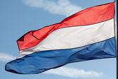 荷兰国旗在太阳反对蓝蓝的天空 — 图库照片