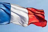 Franse vlag in de wind tegen hemel — Stockfoto