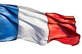 Franse vlag in de wind op een witte achtergrond — Stockfoto