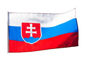 Slovakia flag in wind on a white background — Zdjęcie stockowe