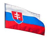 Slovakia flag in the wind on white background — Stok fotoğraf