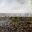 Stone staircase receding into the fog — Stock Photo