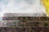 Stone staircase receding into the fog — Stock Photo