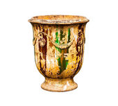 Old urn vase on a white background — Stock Photo