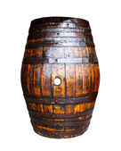 Wooden barrel on white background — Stock Photo