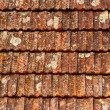 Stock Photo: Old brown shingles on roof