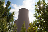 Zelené větve stromů proti jaderné elektrárny — Stock fotografie