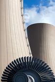 Steam turbine against nuclear plant — Stock Photo