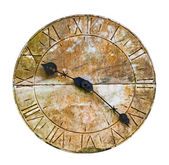 Stone clock on a wall against white background — Stock Photo