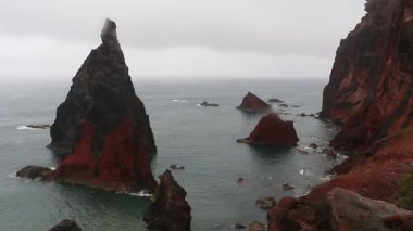 Headland and cliffs on island of Madeira — Stock Video