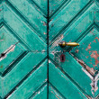 Fragment of old and dilapidated doors — Stock Photo