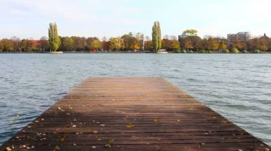 Wooden pier on the pond — Stockvideo