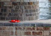 Lifebuoy under a stone bridge — Stock Photo