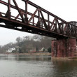 Stock Video: Railway bridge over  river