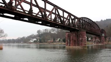 Railway bridge over  river — Stock Video