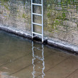 Stock Photo: Metal ladder on stone wall at the river