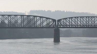 Railway bridge over river — Stock Video