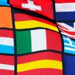 The Fragment of Pan European flag against blue sky — Stock Photo #43414307