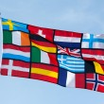 Pan European flag against the blue sky — Stock Photo #43414339