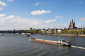 River boats on the river Rhine in Cologne — Stock Photo