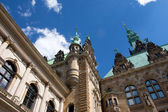 Town Hall in the town square in Hamburg in the sunlight — Stockfoto