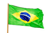 Brazilian flag in  wind isolated on white background — Stock Photo