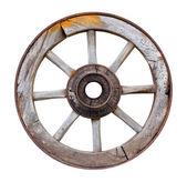 白い背景の上の古い木製の車輪 — ストック写真