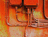 Old electrical panel on iron wall — Foto Stock