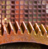 Old and rusty pinion gear of mechanical machine  — Stock Photo
