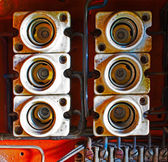 Ceramic fuses in old electric box — Stock Photo