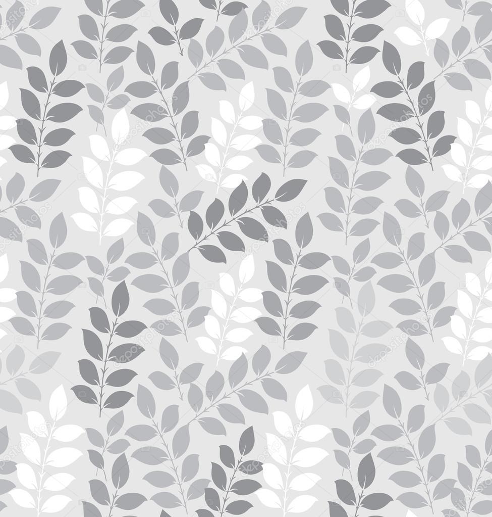 Fondo de pantalla de hojas sin costuras en plata vector - Papel pintado plateado ...