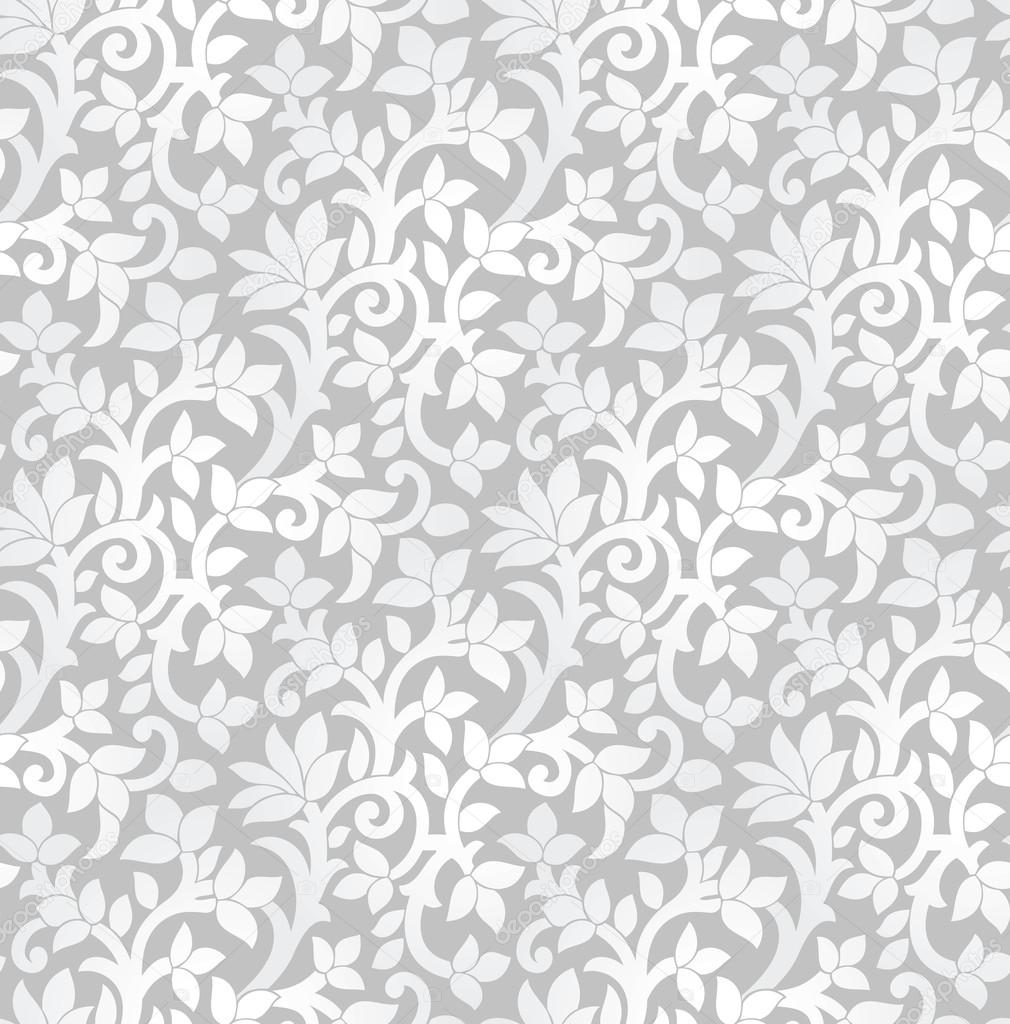 Sem costura luxo prata wallpaper floral vetor de stock for Papel de pared plata