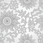Seamless silver floral background — Stock Vector