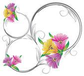 Süslü çerçeve çiçek — Stok Vektör