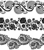 Floral vector borders — Stock Vector