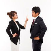 Fight business couple — Stock Photo