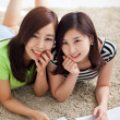 Two happy young beautiful women studying — Stock Photo #17645459