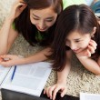 Two Asian young woman using computer and studying. — Stock Photo