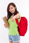 Young happy Asian student show thumb. — Stock Photo