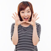 Saying young asian woman — Stock Photo