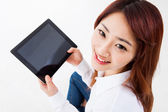 Woman holding tablet computer. — Stock Photo