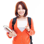 Young Asian student showing a card — Stock Photo