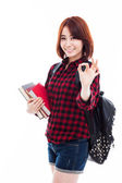 Young happy Asian student show OK sign. — Stock Photo