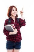 Young Asian student woman pointing up — Foto Stock